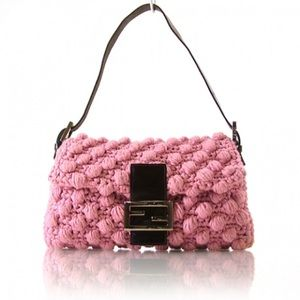 Like New Fendi Crotchet Leather Sold out Baguette